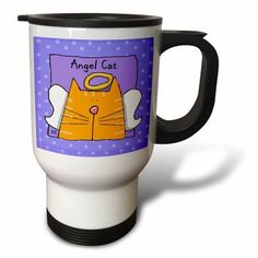 3dRose Angel Orange Tabby Cat Cute Cartoon Pet Loss Memorial , Travel Mug, 14oz, Stainless Steel