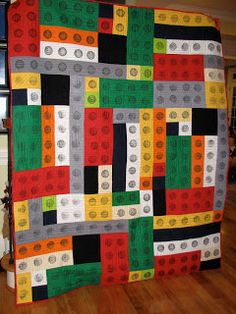 The Crafty Quilter's Closet: Lego Quilt  This would be perfect for the grandchildren!