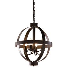 allen + roth 18-in W Antique Rustic Bronze Pendant Light with Shade