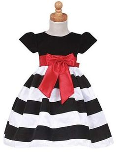 2854b9abd38e Sophias Style Girls Black Stripe Flocked Christmas Dress Baby Toddler Girls  6M-7
