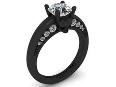 """Skull Engagement Ring- The """"Secret Skull"""" Ring Black Rhodium Plated White Gold Round Diamond Skull Wedding Ring, Skull Engagement Ring, Gold Wedding Rings, Engagement Ring Settings, 14k Bracelet, Skull Jewelry, Jewlery, Gold Plated Rings, Black Rhodium"""