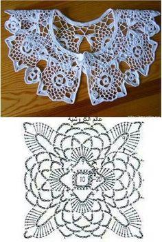 cuello crochet con motivos cuadrados