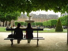 Place des Vosges, Paris. Victor Hugo (who wrote Les Miserables) lived here.