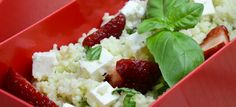 Couscous salad with strawberries, feta and basil