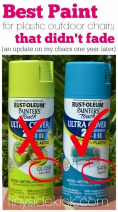 Spray Painted Plastic Outdoor Chairs {update: one year later}  See which paint didn't fade at