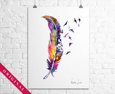Original Watercolor Painting - Colorful Birds Feather - Wall Art on Etsy, $80.00
