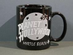 Items similar to Vtg 8 oz Planet Hollywood Linyi Ceramic Mug Myrtle Beach Black Silver 1991 Souvenir Coffee Tea Office Cup Dinner Tableware Kitchenware Gift on Etsy
