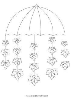 Umbrella crafts for preschool Fall Arts And Crafts, Winter Crafts For Kids, Autumn Crafts, Autumn Art, Diy For Kids, Diy And Crafts, Autumn Leaves, Umbrella Template, Under My Umbrella