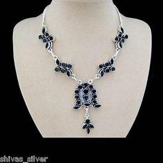 Onyx Halskette, Silber plattiert