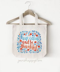 Items similar to Keep Calm And Be Thankful - TOTE BAG; Accessory on Etsy Beach Tote Bags, Canvas Tote Bags, Cotton Bag, Cotton Canvas, Watercolors, Watercolor Paintings, Art Market, Watercolor Illustration, Shopping Mall