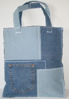 Patchwork Denim Jeans Handbag Shoulder Bag Purse Tote SAC85. $15.00, via Etsy.