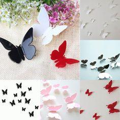 Gratis 3d shipping12pcs vlinders kamer kunst aan de muur stickers hoom docors/diy papier decoraties(China (Mainland))