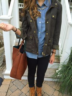 Light blue button-down, pearls, and neutral color ankle boots, but the jacket really makes this outfit.....perfect for the Fall