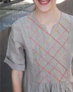 Oliver + S pattern with embroidery by Rebecca Rinquist Embroidery On Kurtis, Kurti Embroidery Design, Sashiko Embroidery, Embroidery Dress, Dress Neck Designs, Designs For Dresses, Blouse Designs, Fashion Fabric, Diy Fashion