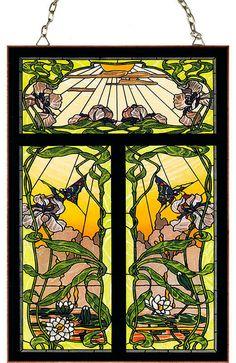 Art Nouveau (Jugendstil) style Stained Glass panel