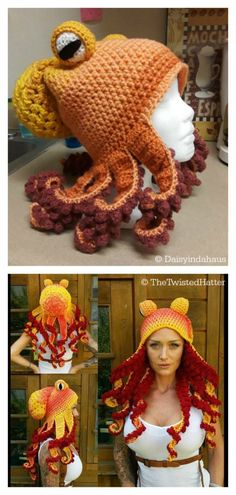 Octopus Hat Free Crochet Pattern and Paid - - This hat would make the perfect accent to your Halloween costume AND your everyday winter wardrobe. The Octopus Hat Free Crochet Pattern is very fun to do. Crochet Beanie, Cute Crochet, Crochet Crafts, Crochet Baby, Crochet Projects, Knitted Hats, Knit Crochet, Crochet Ideas, Vintage Crochet