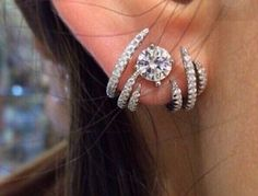 925 Silver Cuff climber earrings/Bridal by JewellryPot on Etsy