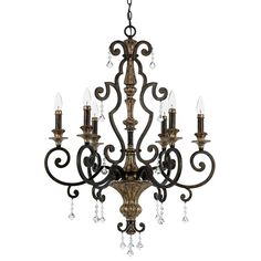 """View the Quoizel MQ5006 Marquette 6 Light 28"""" Wide Candle Style Chandelier with Crystal Accents at LightingDirect.com."""