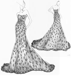 Wedding Dresses Handpainted Manuscript by Kelly , via Behance
