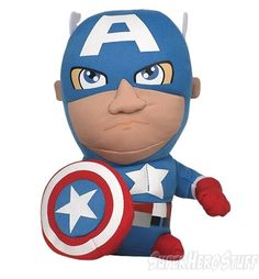 """Measuring roughly 8"""" high this soft plush figure is rendered in the deformed shape and exaggerated form of America's son Captain America! I mean of course they're related; they have the same name! Anyway he may be soft but his steadfast rigid vigilance shines through in those focued baby blues and that determined...mouth position. Anyway you need someone looking out for the common good amidst a hardy America hug? Good 'cause   http://www.marveloussuperherosquad.com/details.php?pid=480260435"""