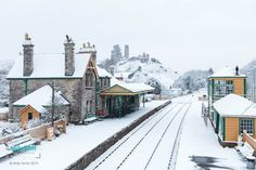 Corfe Castle covered in snow makes a lovely backdrop to the picturesque station on the heritage Swanage Railway. Corfe Castle, Jurassic Coast, How To Make Snow, Organic Farming, Our World, Natural Beauty, Backdrops, Arch, Places To Visit