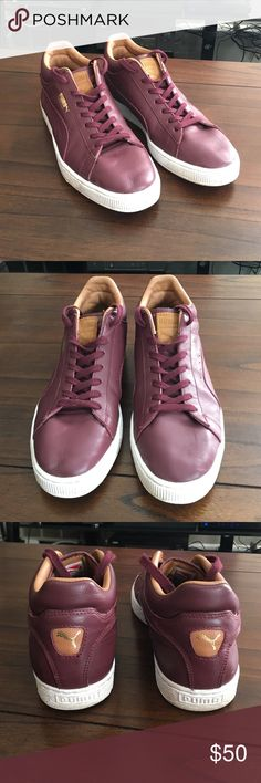 Puma Stepper men's leather shoes Puma Stepper men's shoes in size 11! shoes are in excellent condition with barely any signs of wear! red leather shoes that are extremely comfortable with a white sole!! Puma Shoes Sneakers
