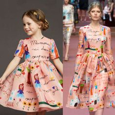 Shop Dolce & Gabbana Super Mom Hand Illustrated Dress. Perfect Mini Me Look for Girls Based on Women's Fall Winter 2015 Runway Collection in Milan.