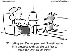I'm telling you I'm not paranoid! Sometimes he only pretends to throw the ball just to make me look like an idiot!