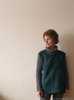 """Купить свитер войлочный """"морская волна"""" - Валяние, море, бирюзовый, серый, изумрудный, морская волна"""