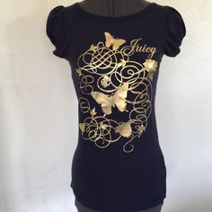 """JUICY COUTURE Navy Blue & Gold Tee Top JUICY COUTURE Navy Blue with Gold design tee top.  Short gathered sleeves.  Navy blue cotton stretch tee material.  Shoulder width 13"""". Length 26"""".  Excellent, new condition. Juicy Couture Tops Tees - Short Sleeve"""