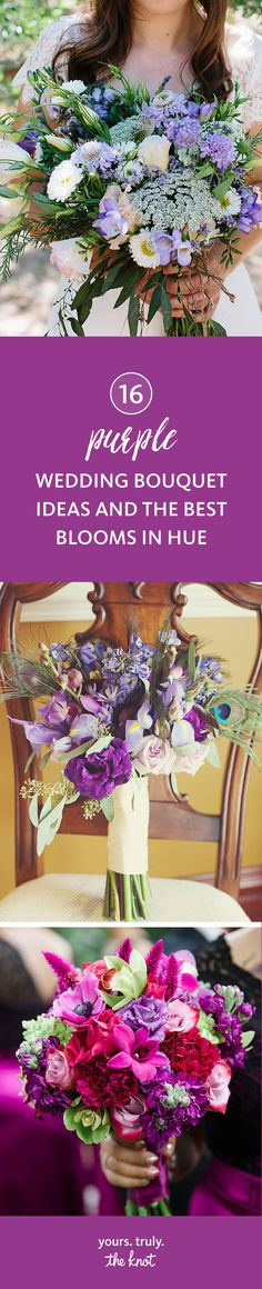 Is purple your wedding color? Select from a variety of these colorful hues for elegant purple wedding bouquet blooms.