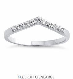 Sterling Silver V Shape CZ Ring
