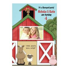 Twins Birthday Party Invitations In the Barn Photo Birthday Party Invitation