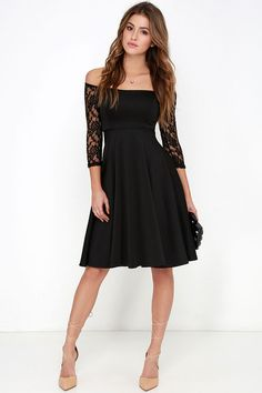 You'll be the epicenter of attention when you hit the town in the Central Square Black Lace Midi Dress! Chic ivory dress has sheer lace sleeves and a flared midi skirt. Black Lace Midi Dress, Black Dress Outfits, Lace Outfit, Pretty Outfits, Lace Dress, Midi Flare Skirt, Lovely Dresses, Dream Dress, Dresses Online