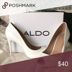 f43ecdbdff4 ALDO Stella White Open Toed Heels Never been used before. Size 11 open toed  heels