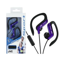 JVC In-Ear Sports Headphone with Ear Clip and Microphone - Blue/Purple Bluetooth In Ear Headphones, Sports Headphones, Bleu Violet, Thing 1, 1 Button, Online Shopping Stores, Clip, Product Launch, Bass