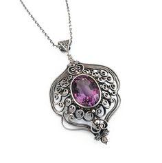 Vintage Sterling Amethyst Necklace - Victorian Style, Purple Gemstone, Sterling Silver, Silver Filigree, Vintage Necklace by zephyrvintage on Etsy