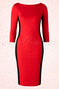 This 50s Mandy Pencil Dress loves your curves, vavavoom!This curve-hugging beauty features stunning contrasting colours which make you look slimmer and enhances your curves perfectly. Made from a stretchy bright red fabric for a lovely fit. Marilyn Monroe would have worn this dress proudly, what about you? ;-)   Boat neck 3/4 sleeves Slit at the back No zipper or buttons Hits just below the knee with a height of 1.70m / 5'7''