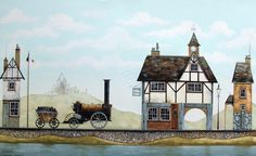 Gary Walton painting. Lovely quirky tudor style properties which are so typical of this artist. Love the clock tower.