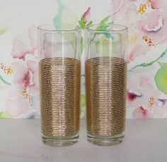 Vintage, Set of 2, Gold Ribbed Highball Glasses by cocoandcoffeevintage