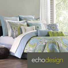 choice for guest room. Echo Bedding, Sardinia Comforter and Duvet Cover Sets - Bedding Collections - Bed & Bath - Macy's Echo Bedding, Paisley Bedding, Twin Comforter Sets, Duvet Sets, Duvet Cover Sets, Green Bedding, Paisley Bedroom, Duvet Bedding, Bedspread