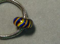 stripped European glass bead blue red yellow black .925 big hole 41 #European