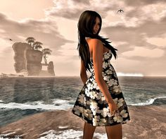 ***Urban Cherry*** Ambient mesh Summer Dress Floral Black&White