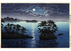 Hasui Kawase  Lever de lune sur l'île de Futago, Matsushima, 1933