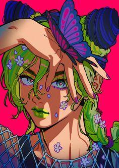 "OKADA on Twitter: ""🦋♥️🦋… "" Jojo's Bizarre Adventure, Jojo Parts, Hyouka, Kawaii, Realistic Paintings, Digital Art Girl, Artist Names, Jojo Bizarre, Easy Drawings"