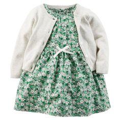2-Piece Printed Woven Dress & Cardigan Set