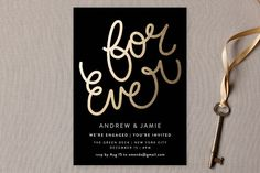 """For Ever"" - Customizable Engagement Party Invitations in Black by Phrosne Ras. Engagement Party Invitations, Modern Wedding Invitations, Invitation Cards, Invites, Romantic Weddings, Wedding Season, Wedding Engagement, Wedding Planner, Dream Wedding"