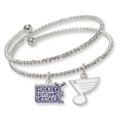 NHL St. Louis Blues Hockey Fights Cancer Support Bracelet, One Size Fits All by Logo Art. $24.95. Join the NHL's commitment to the fight against cancer by wearing this exclusive NHL Hockey Fights Cancer Bracelet by Logo Art. Show everyone that it's time to end cancer forever. This one size fits all crystal encrusted bracelet is accented with your favorite team charm and the official Hockey Fights Cancer charm. A portion of the proceeds go to the NHL's Hockey Fights Cancer in...