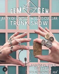 This Saturday @armyofrokosz and I will a trunk show @shopgemgem in Portland. Come check us out if you in da area  #juliocuellarhandmade