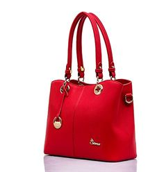 Lucca Cow Leather Top-Handle Shoulder Satchel Handbag LSC001 (Red) ** Find out more about the great product at the image link.